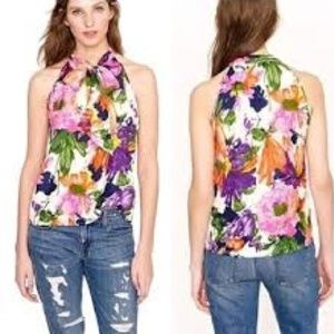 J Crew Floral Halter Silk Top